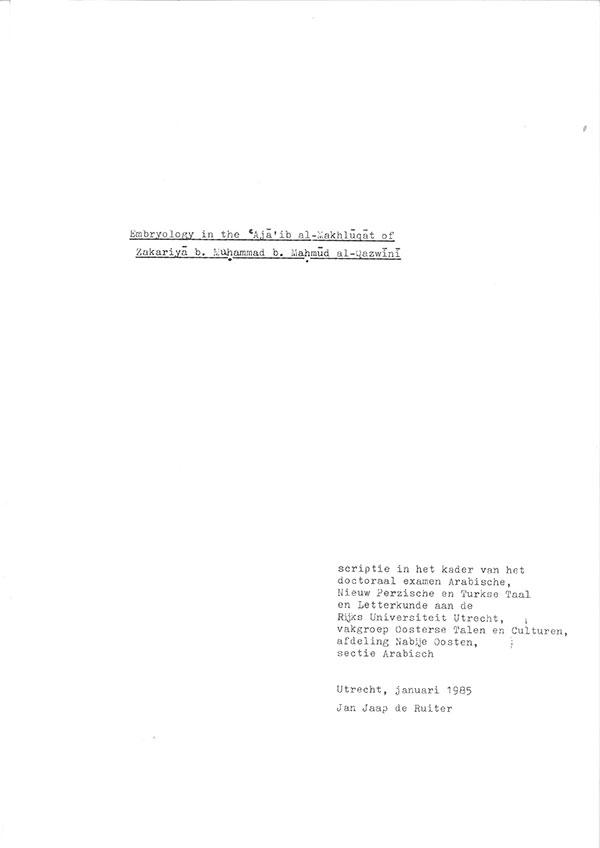 Embryology in the Aja'ib al-Makhluqat of Zakariya b. Muhammad b. Mahmud al-Qazwini